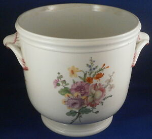 Antique-18thC-French-Porcelain-Floral-Cache-Pot-Jardiniere-Flower-pot-France