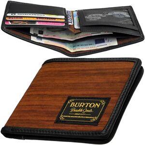 BURTON-Herren-Geldboerse-ohne-Muenzfach-Holz-Design-Etui-Portemonnaie-Geldbeutel