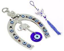 Set of 2~ Blue Evil Eye Elephant Horse Shoe + Butterfly Wall Hanging Amulet Gift