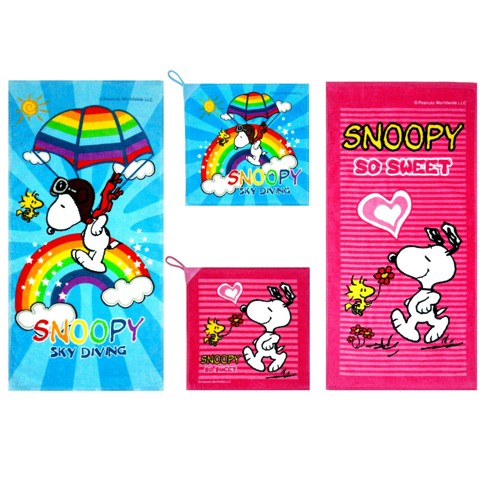 Authen. Snoopy Woodstock hand face towel cartoon character birthday gift present