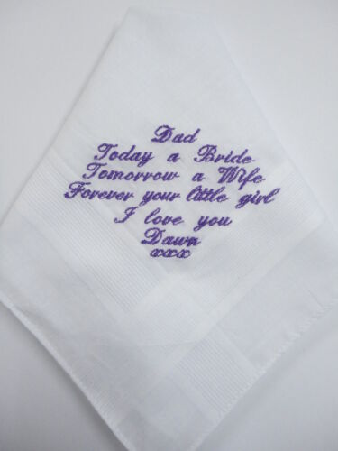 with your choice of message and thread colour Mens Personalised Handkerchief