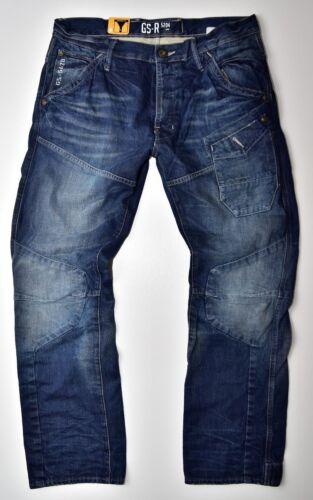 W30 L34 Nuovo G-Star Raw Skiff 5620 3d Tapered Età Media Jeans