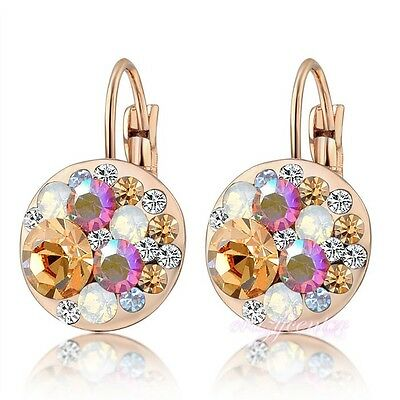 Fashion multi-color crystal earrings drop rose gold plated women gift E629
