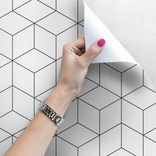 Geometric Abstract Minimal wall art Cubes mural Stripe Self adhesive wallpaper