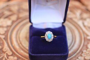 Bague-Ancienne-Turquoise-et-diamants