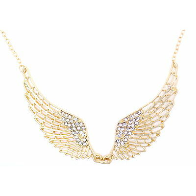 Ala alas oro / plata collar de ángel tono con el cristal