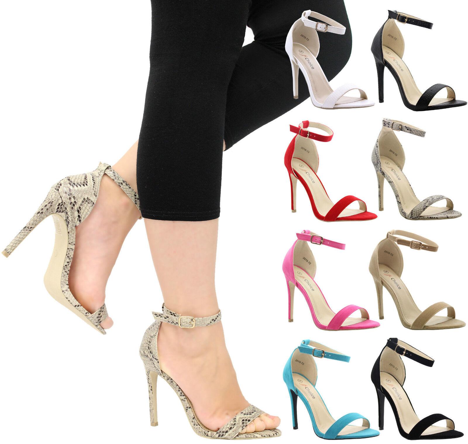 Da Donna con tacco a stiletto Peep Toe Fascia Caviglia Party Sandali Scarpe Taglia