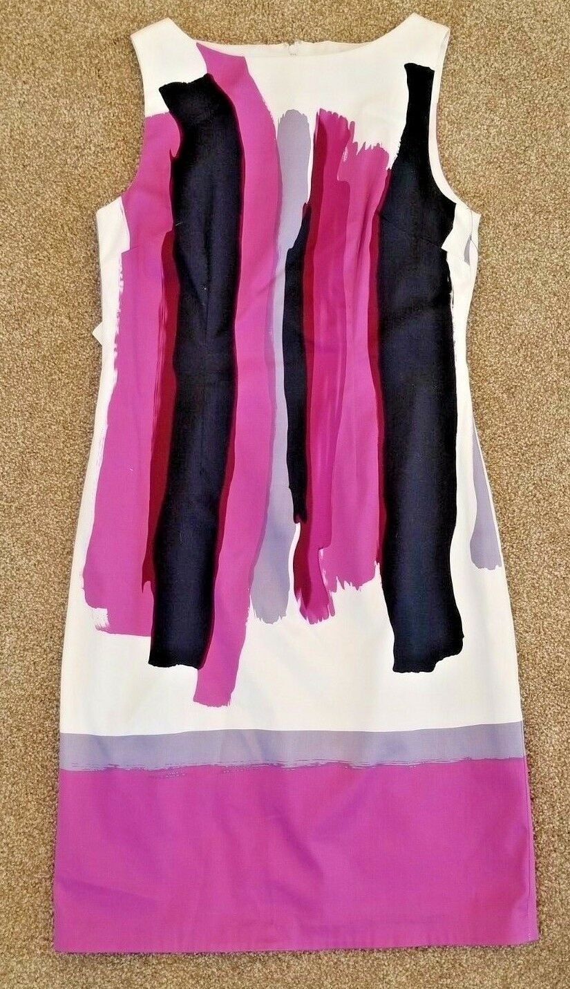 Chetta B Paint Stroke Sheath Dress Purple Navy White Sleeveless Size 4