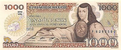 Initiative México 1000 Pesos 30.10.1984 Prefix F Series Wq Uncirculated Banknote Supplement The Vital Energy And Nourish Yin Paper Money: World Coins & Paper Money