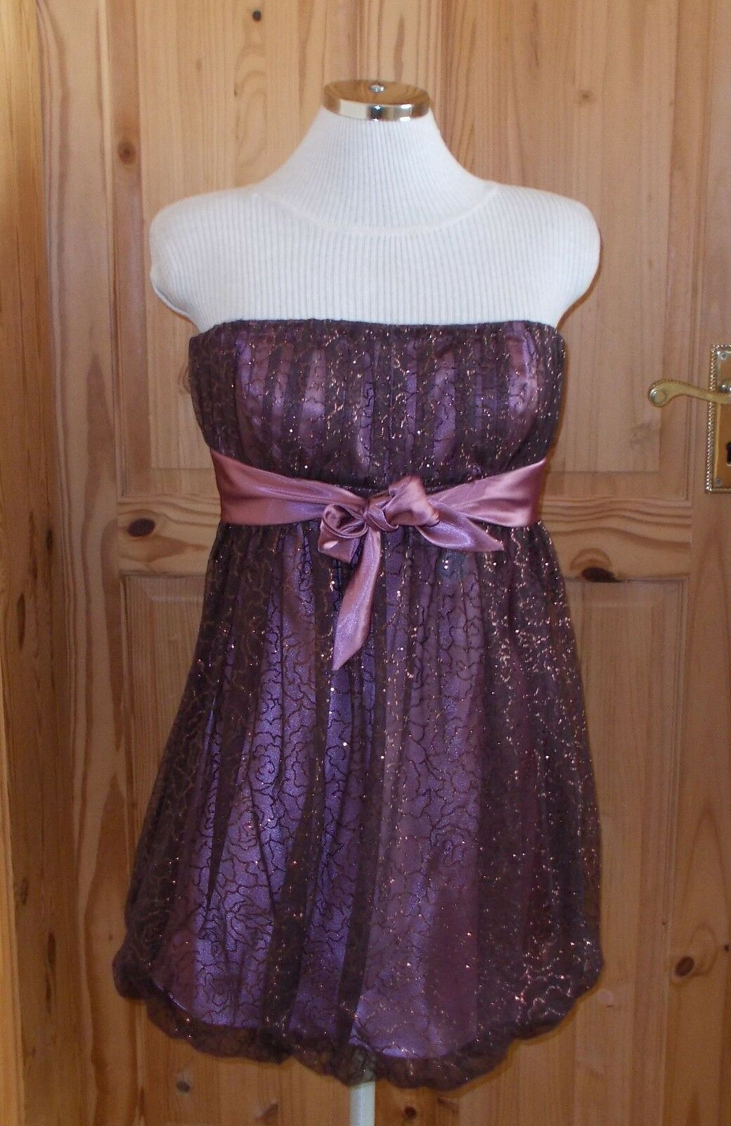 1MAX  dusky pink pink brown copper satin tulle puffball bubble prom dress 8