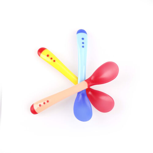 1X Heat Sensing Thermal Feeding Spoon Baby Kids Weaning Silicone Head Table  wy