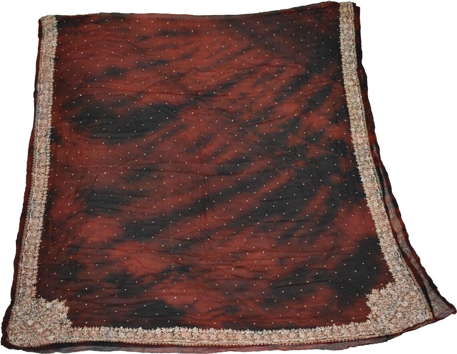 Vintage Dupatta Hand Embroidery Maroon/Black Georgette Stole Zari Work IDC1677