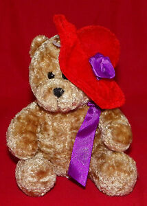 Flomo-Tan-Bear-with-Red-Hat-amp-Purple-Ribbon-Bow-Forever-Friends-6-5-034-Nygala-Corp