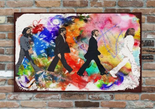 """BEATLES 10x8/"""" Retro-look Metal Art Piece Plaque Wall-Pic Music Icons"""