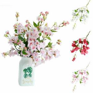 Am-Artificial-Silk-Cherry-Blossom-Flower-Bouquet-Wedding-Home-Floral-Decor-US-B