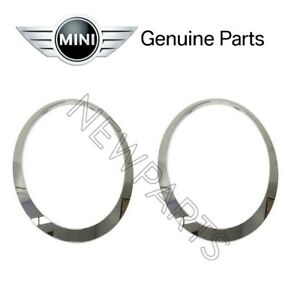 For-Mini-Cooper-14-17-Pair-Set-of-Right-amp-Left-Chrome-Headlight-Trim-Rings-OES