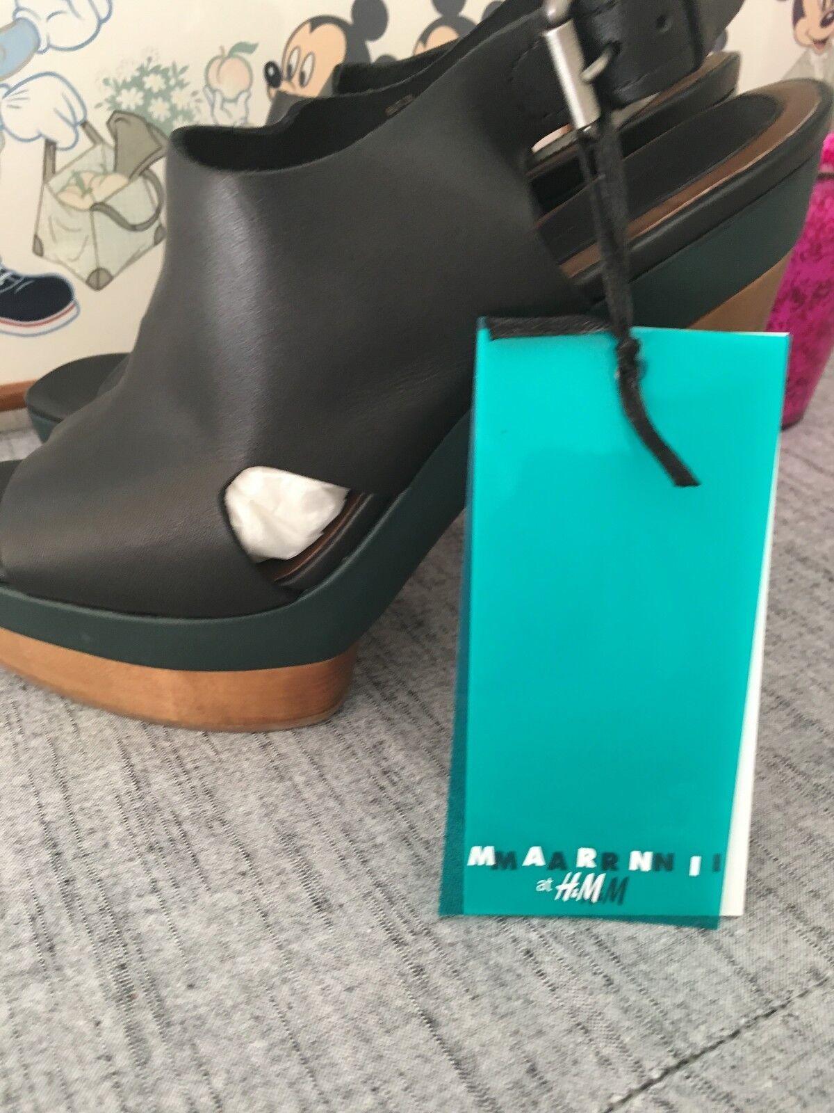 Marni H&M High Heels Gr. 38 38 38 schwarz NEU mit Etikett Plateau-Sandalen grün Holz f6e121