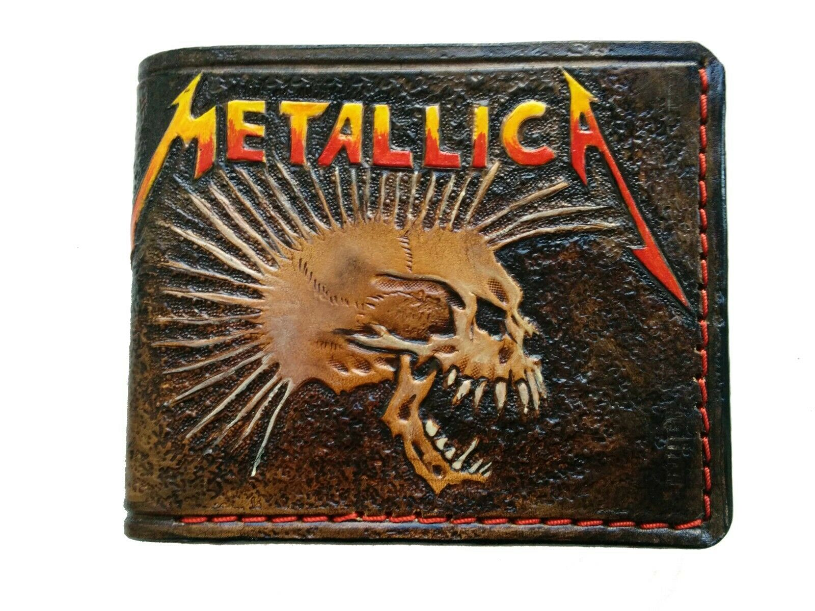 Men's 3D Genuine Leather Wallet, Hand-Carved, Hand-Painted, Tooled, Metallica