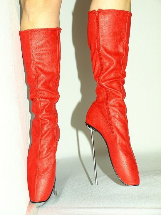 BLACK-ROT PATENT LEATHER  BALLET BOOTS SIZE 10-16 HEELS-8,1
