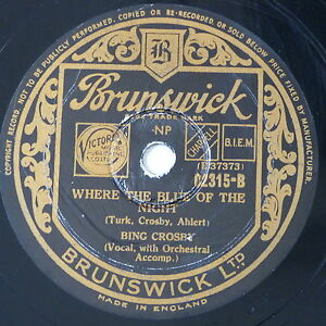 78-record-in-frame-WHERE-THE-BLUE-OF-THE-NIGHT-DANCING-IN-THE-DARK-bing-crosby