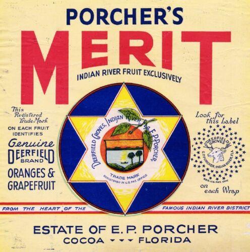 Cocoa Florida Porcher/'s Merit Star David Orange Citrus Fruit Crate Label Print