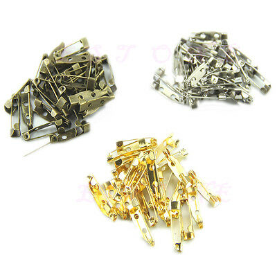 100pcs 20mm Safety Pins Stainless Steel Brooch Back Findings DIY Craft 3 Colors