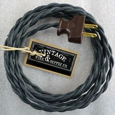 Charcoal - Rewire Lamp Cord Kit Steampunk Light Cloth Twisted - Antique Fan Lamp