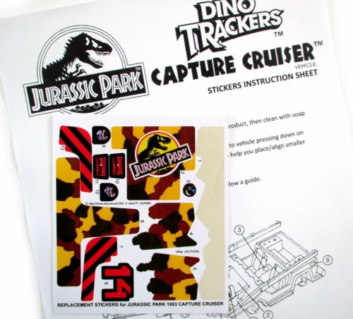 Replacement stickers for Kenner JURASSIC PARK Capture cruiser Pre-cut!!