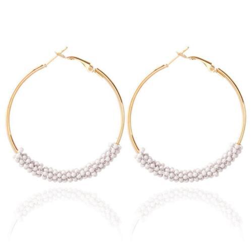 Fashion femmes Bohême Enthic Beads Round Dangle Crochet Boucles D/'oreilles Bijoux