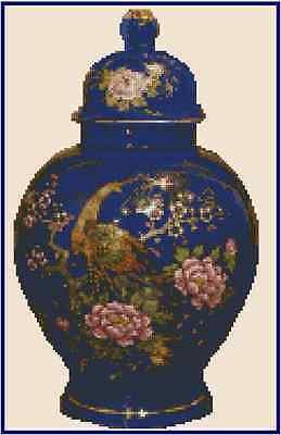 Cross Stitch Chart ORIENTAL ROYAL BLUE JAR - No.25-109 (Large Print)