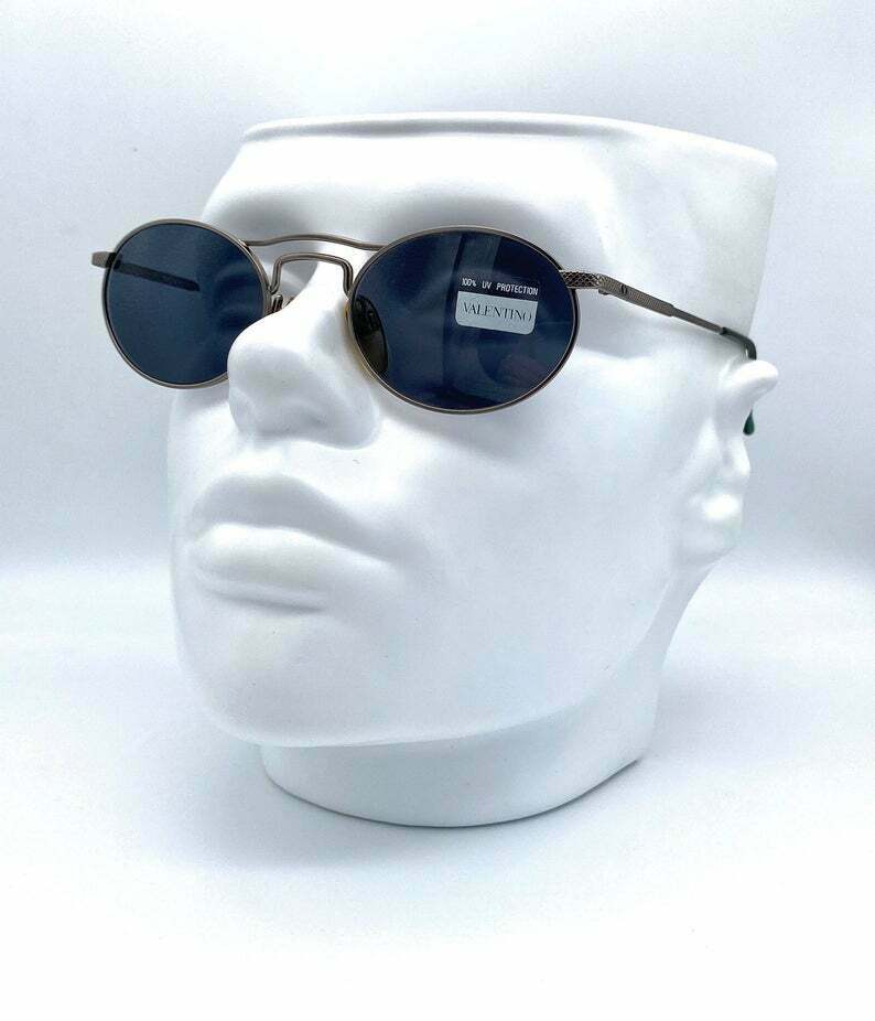 VALENTINO mod V 649 vintage steampunk oval sunglasses made in Italy 90's NOS