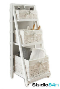 Juliet-3-Drawer-Tier-Ladder-Basket-Shelf-White-Wooden-Shelving-amp-Storage-Unit