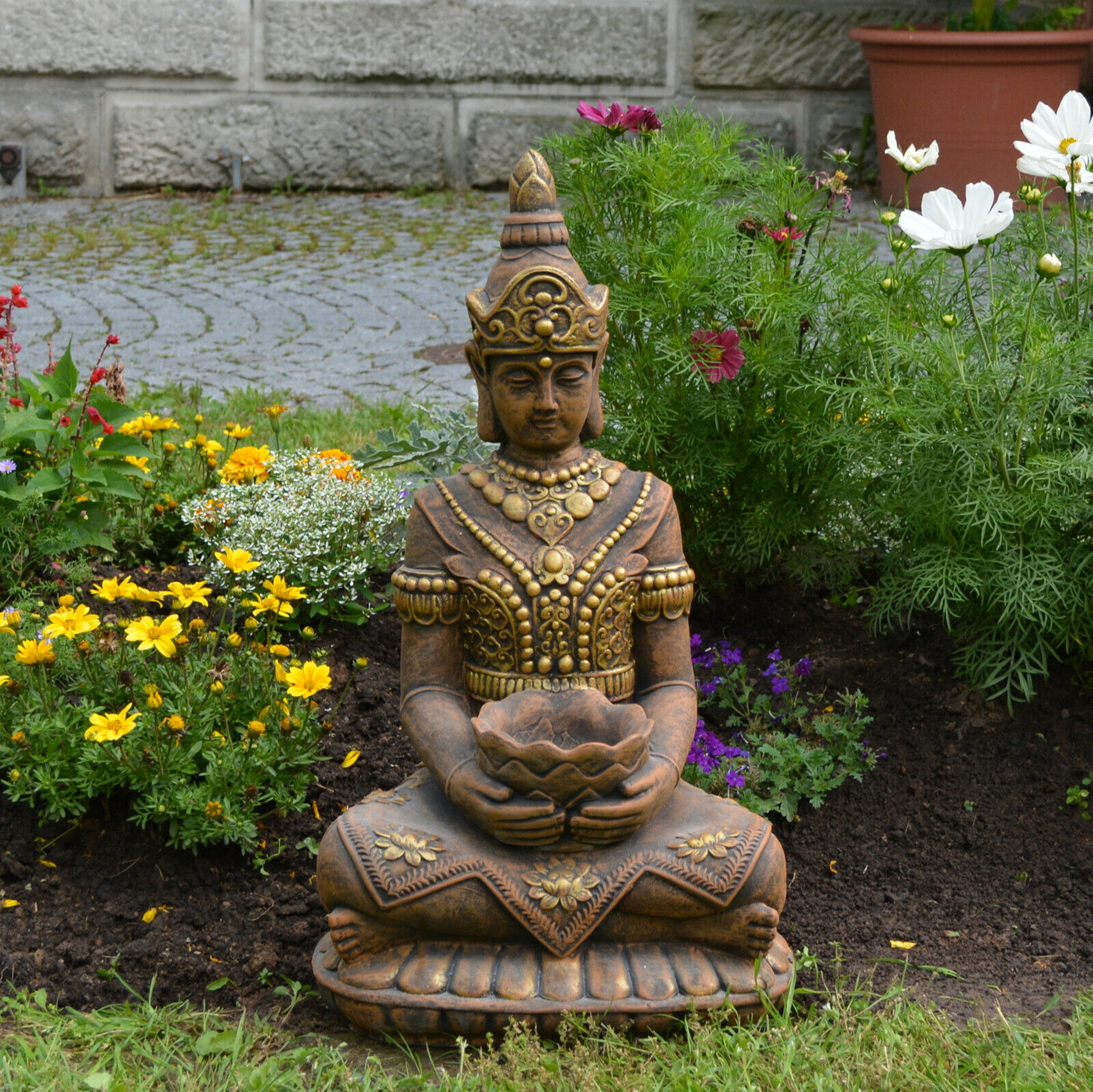 Macizo Figuras Piedra Grande Buda Guarda Del Templo Exclusivo de Moldeada