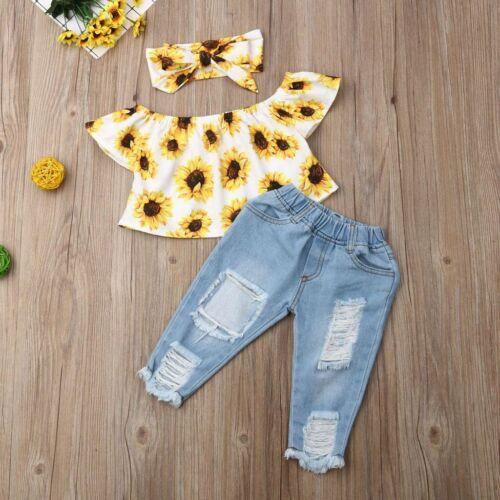 Toddler Baby Girls Kids Off Shoulder Floral Summer Tops Denim Pants Outfits Sets