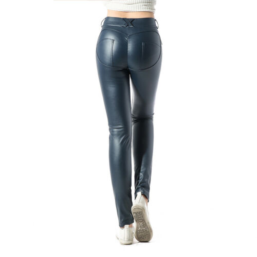 Damen Hose Treggings Leggings Stoffhose Leder-Look Röhrenhose Leggins 36 38 ADK