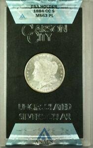 1884-CC-GSA-Hoard-Morgan-Silver-Dollar-1-Coin-ANACS-MS-63-w-Box-amp-COA-Proof-Like