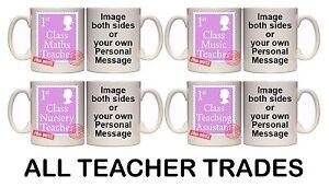 FIRST-CLASS-TEACHER-PINK-PERSONALISED-MUG-SC20-11oz-amp-15oz-GIFT