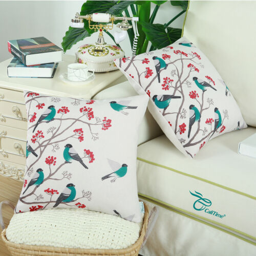 CaliTime Cushion Covers Pillows Shells Chickadees Bird Red Floral Tree 45 x 45cm