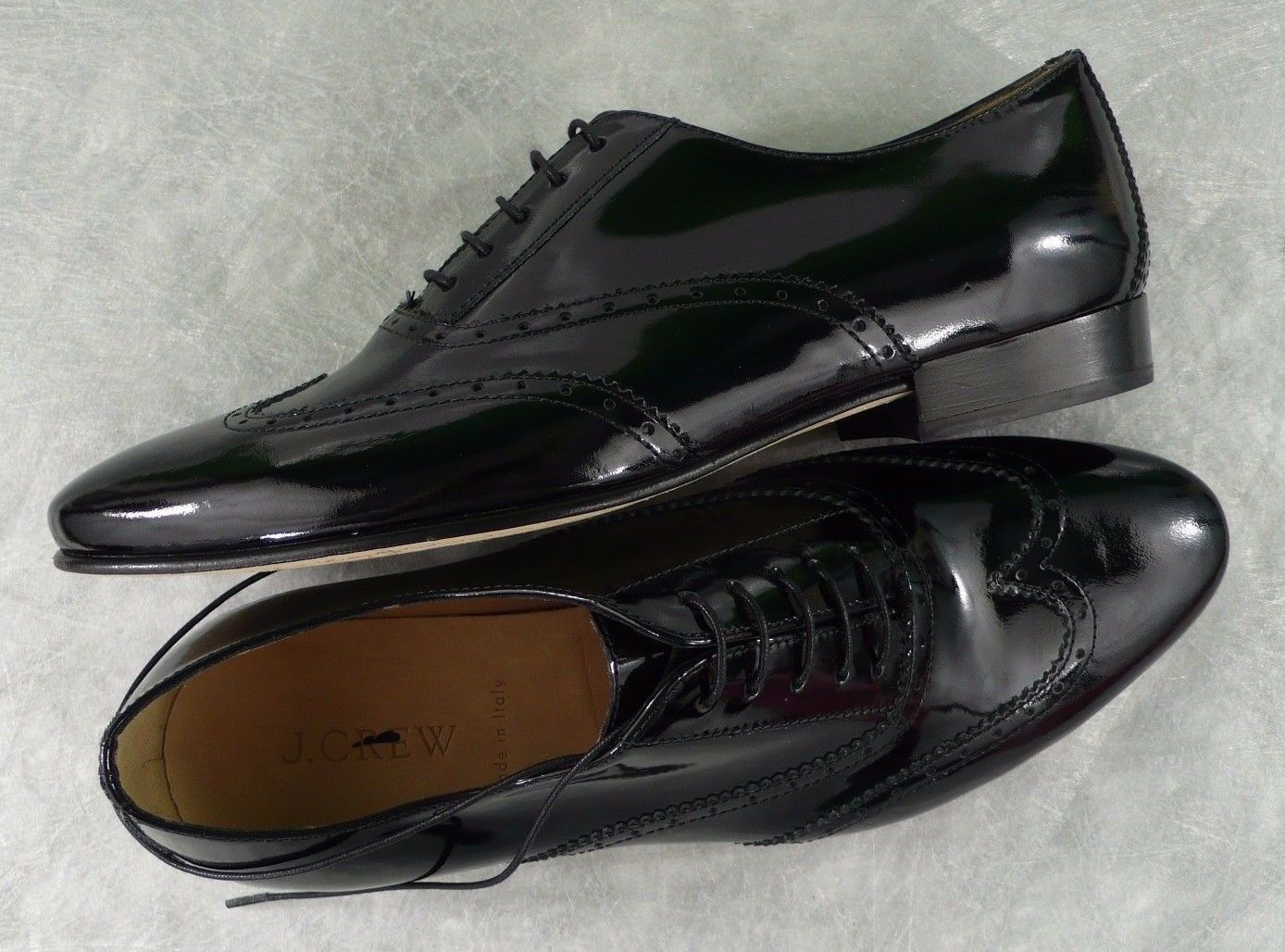 NEW J. J. J. CREW Retail  268 PATENT LEATHER WING TIP OXFORDS BLACK SIZE 9.5 ITALY 514f35