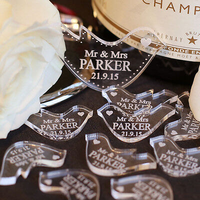 70 Personalised Mr & Mrs Love Heart Doves Wedding Table Decoration Favours