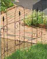 10 Ea Panacea 89373 32 Tall X 8' Ft Black Steel Folding Scroll Top Finial Fence
