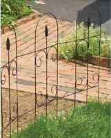 10 Ea Panacea 89373 32 Tall X 8' Ft Black Steel Folding Scroll Top Finial Fence