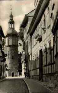 1959-STOLBERG-Harz-Thomas-Muentzer-Gasse-Turm-Gebaeude-DDR-Echtfoto-AK-ungelaufen