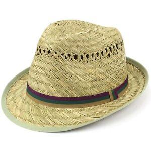ea09fda6f4 Details about Trilby Hat Straw Fedora Cap Mens Unisex Brim Travel Hawkins  BAND COLOURS