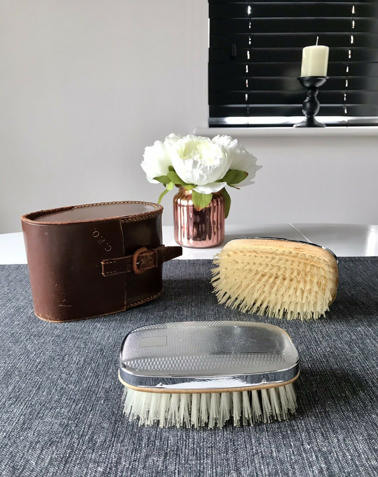 Vintage 1940s/50s Chromium Plated Clothes And Shoes Brushes With Leather Case