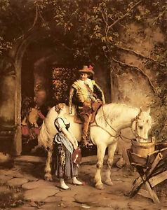 Oil-painting-Emil-Rau-a-stop-at-the-tavern-horseman-amp-white-horse-in-landscape