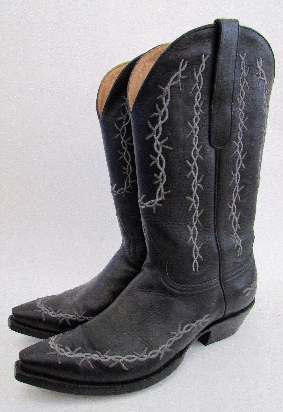 Manuel Cuevas Colección Limited Edition Negro Cuero de alambre de la lengüeta botas de vaquero 10