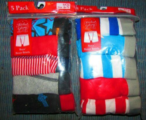 Faded Glory Boy Boxer Briefs S 6-7//Medium 8 sport//solid//stripe//print u pick lot