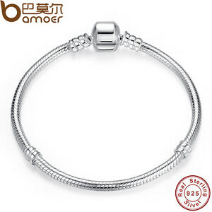 BAMOER-925-Sterling-Silver-Snake-Bracelet-Smooth-Clasp-European-Charm-Jewelry