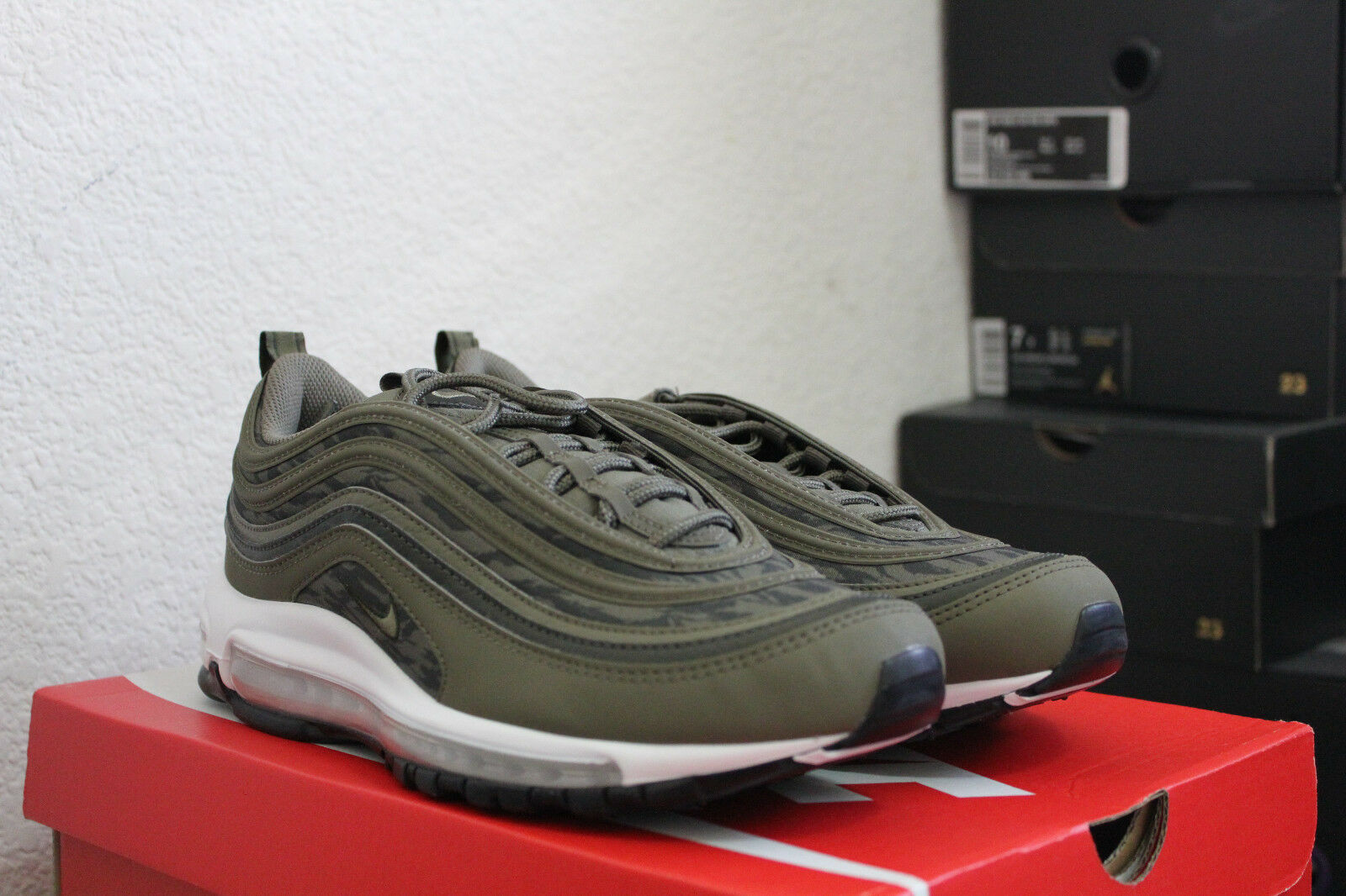 NIKE AIR MAX MAX MAX 97 TIGER CAMO OLIVE MEN'S RUNNING SHOES SIZE 8.5 NEW DS AQ4132 200 6ee396